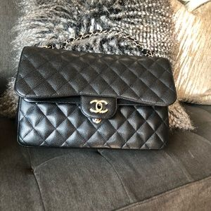 Double Flap Black Jumbo Chanel Handbag